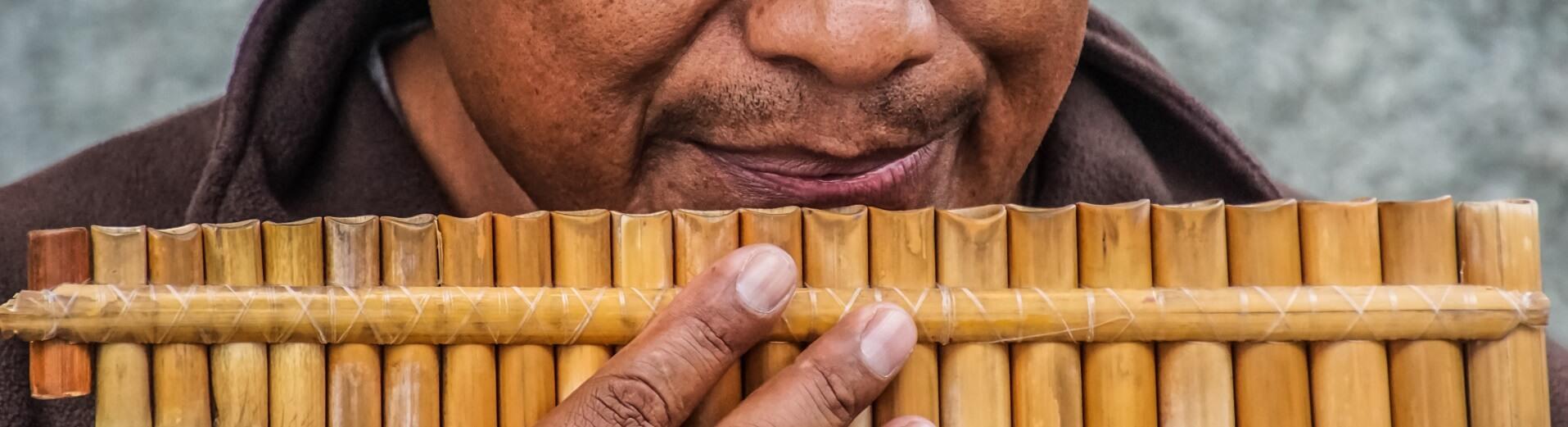 Bambus Instrumente, Percussion, Blasinstrumente aus Bambus