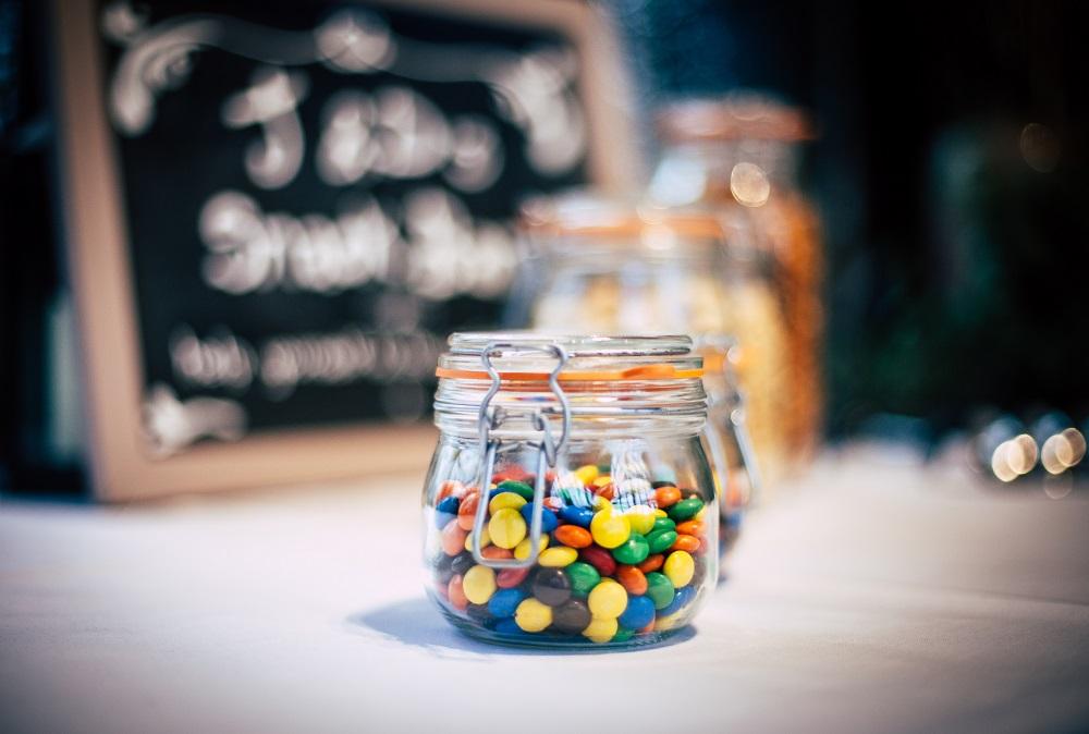 Süßigkeiten in einem Einmachglas